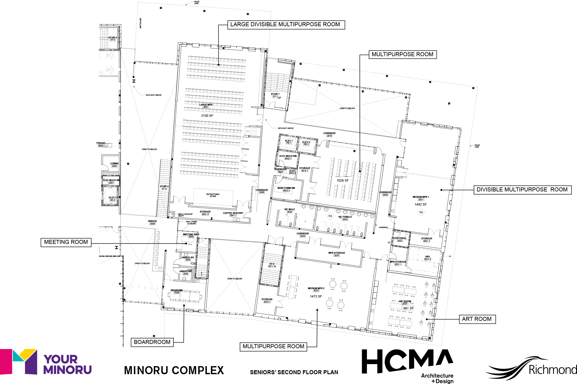 Minoru Complex - Seniors Second Floor Plan - January 2016