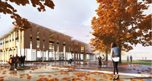 Rendering of Minoru Complex exterior from the Entry Plaza - October 2014