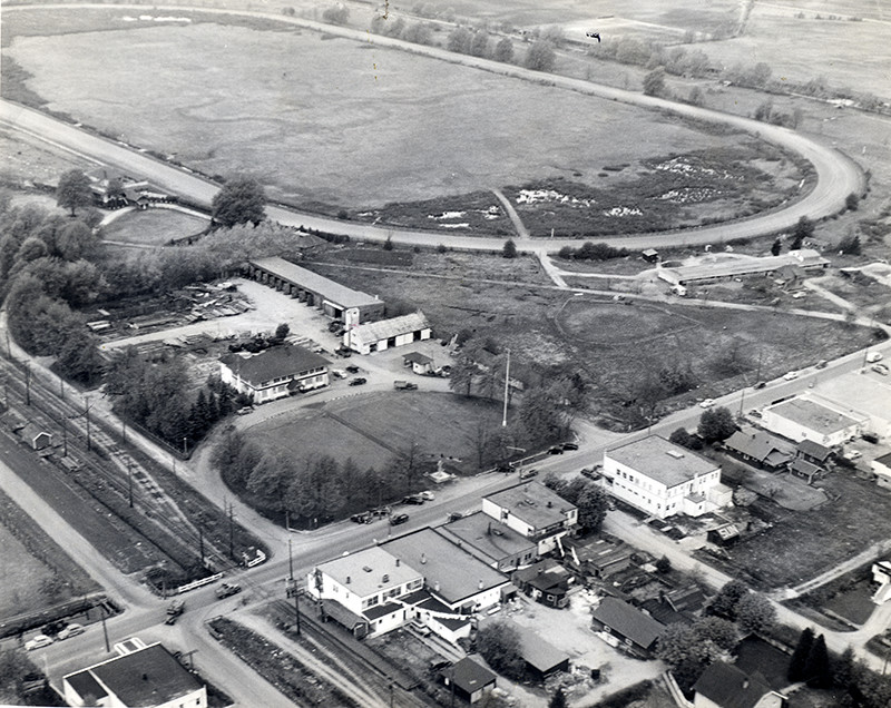 Aerial of Granville Avenue and No. 3 Road area, showing Brighouse Park Racetrack - 1951