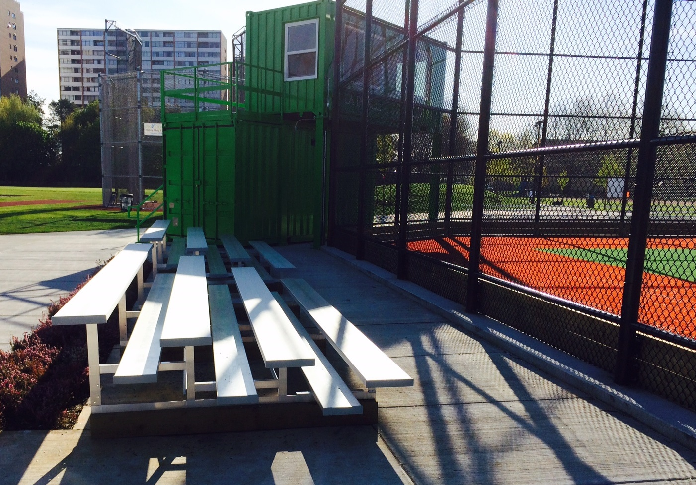 New bleachers and concrete pathways at Minoru3/Latrace Field