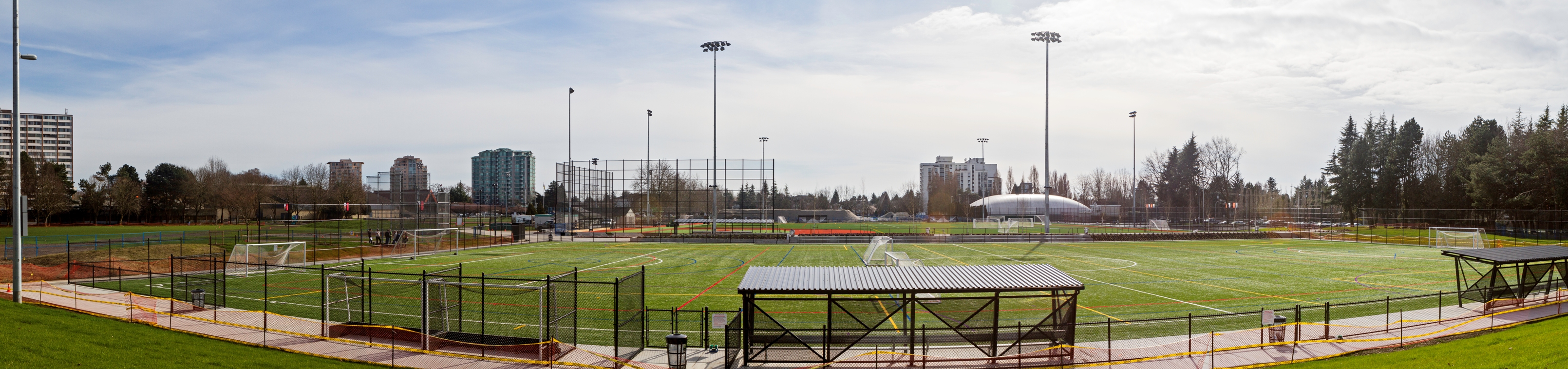 View of new artificial turf fields