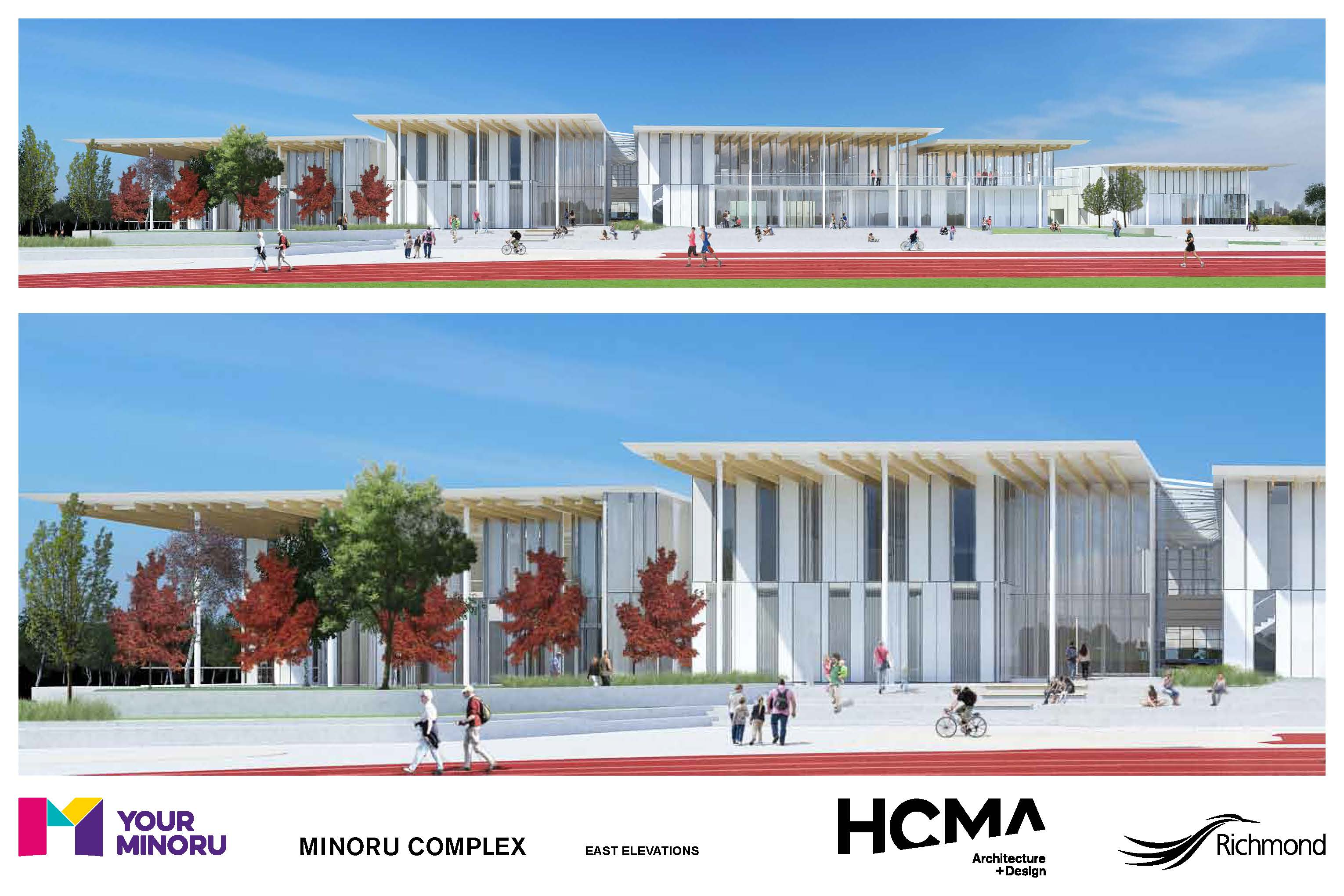 Rendering of Minoru Complex - East elevations - January 2016