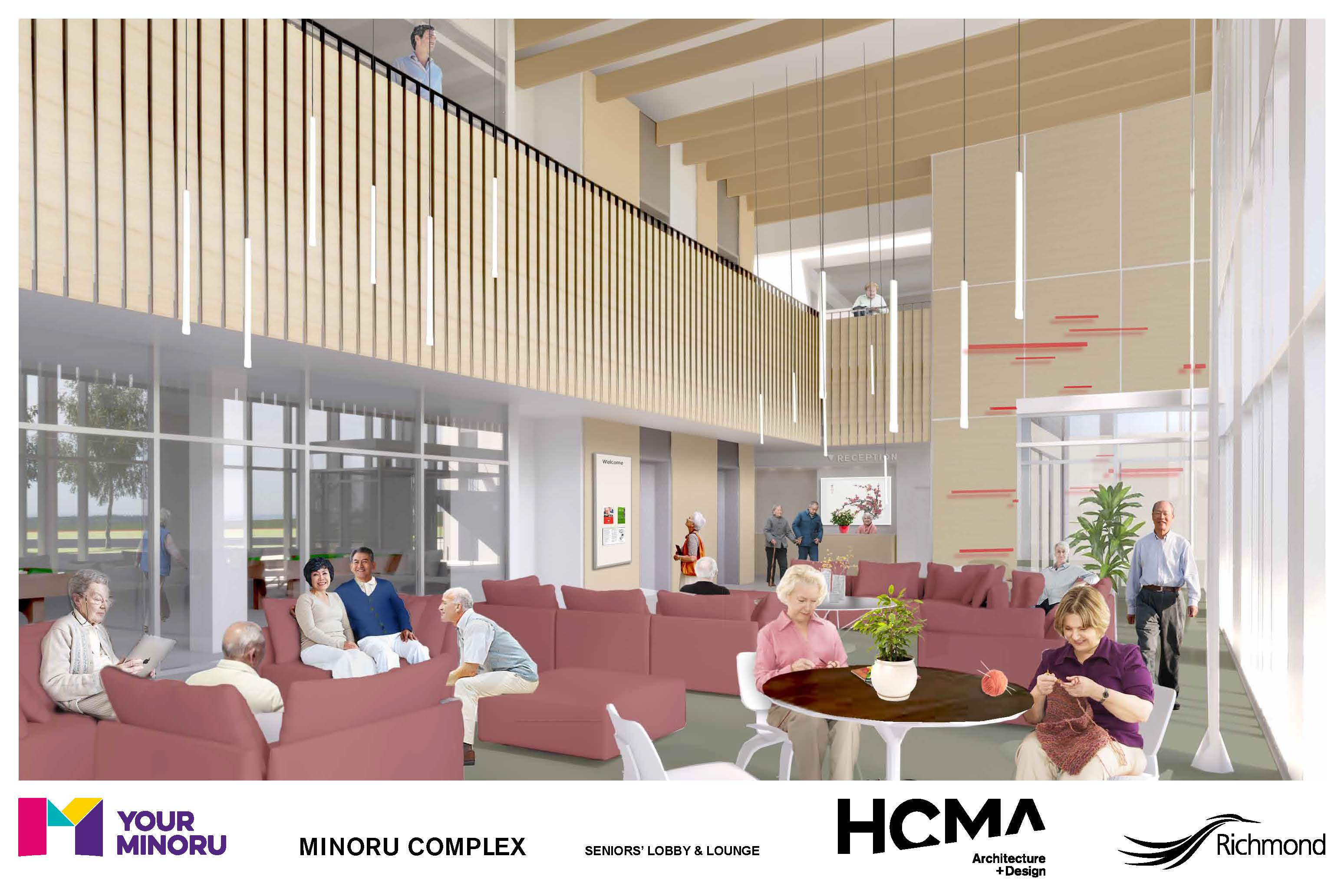 Rendering of Minoru Complex - Seniors lobby and lounge - January 2016