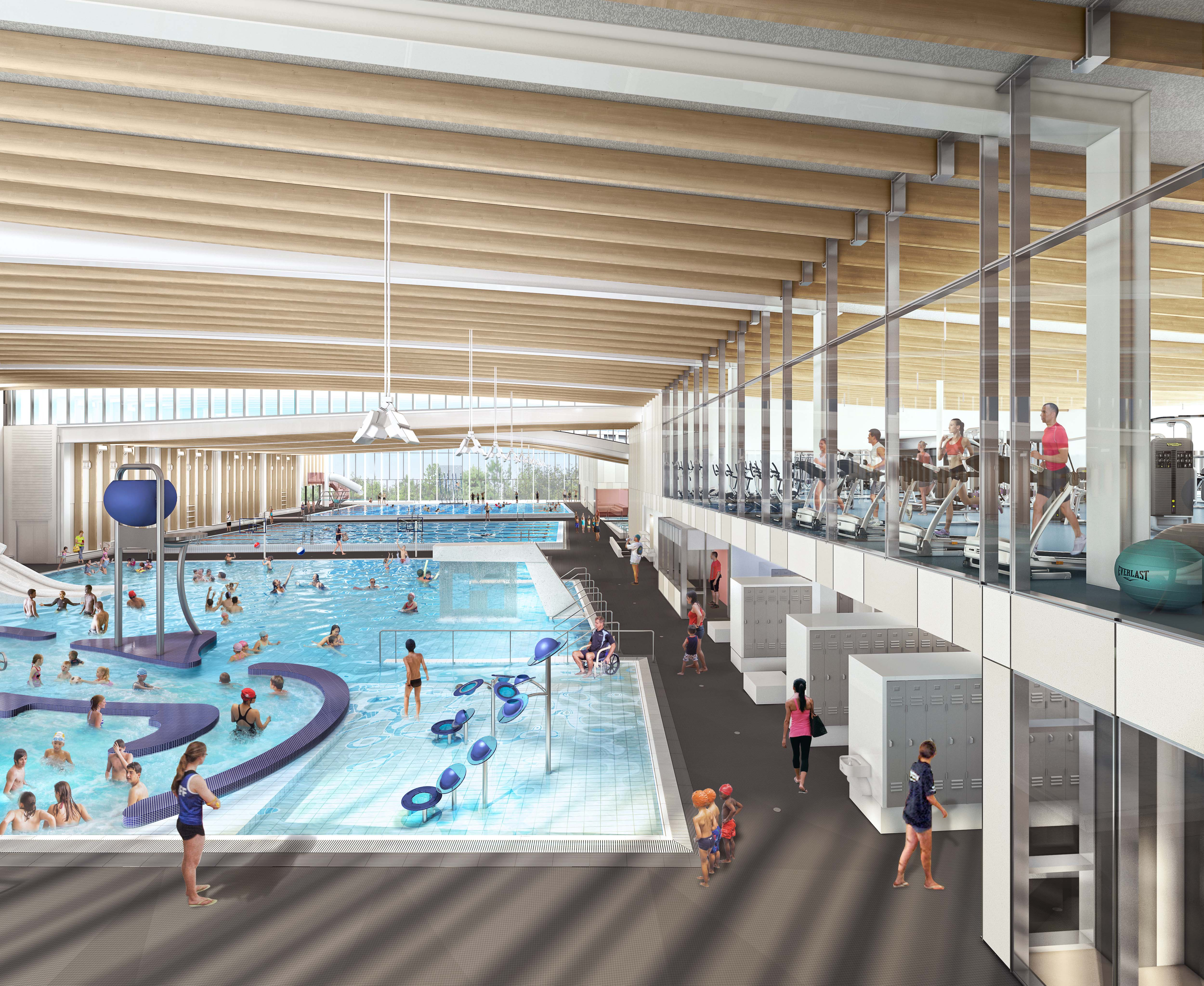 Rendering of the Minoru Complex - view from the pools to the Fitness Centre - July 2016