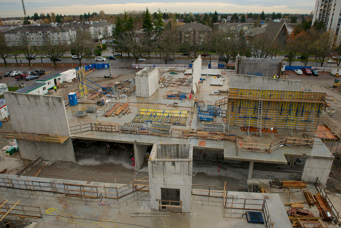 View from the crane, overlooking the second floor of the Seniors Centre - November 2016